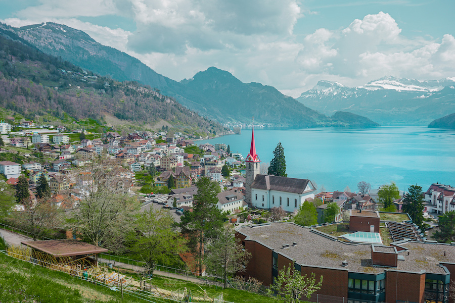 Swiss village with a blue water lake
