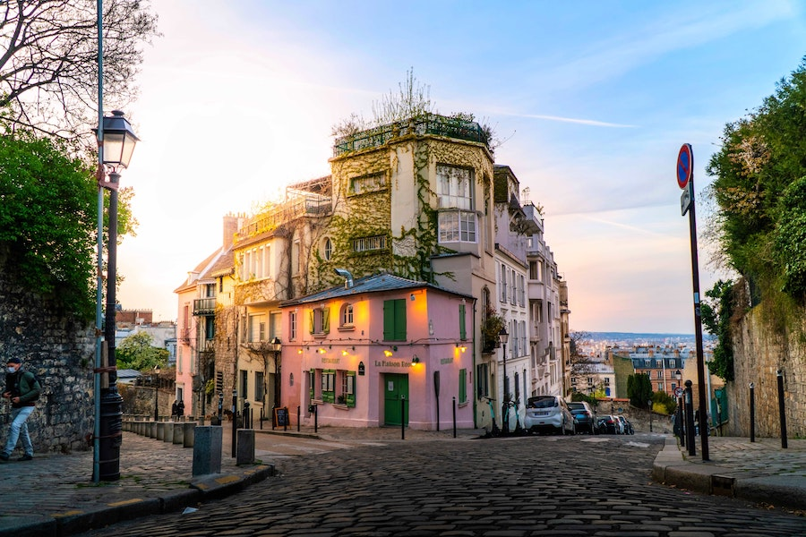 Cobble street and buildings in Montmartre, overlooking Paris.