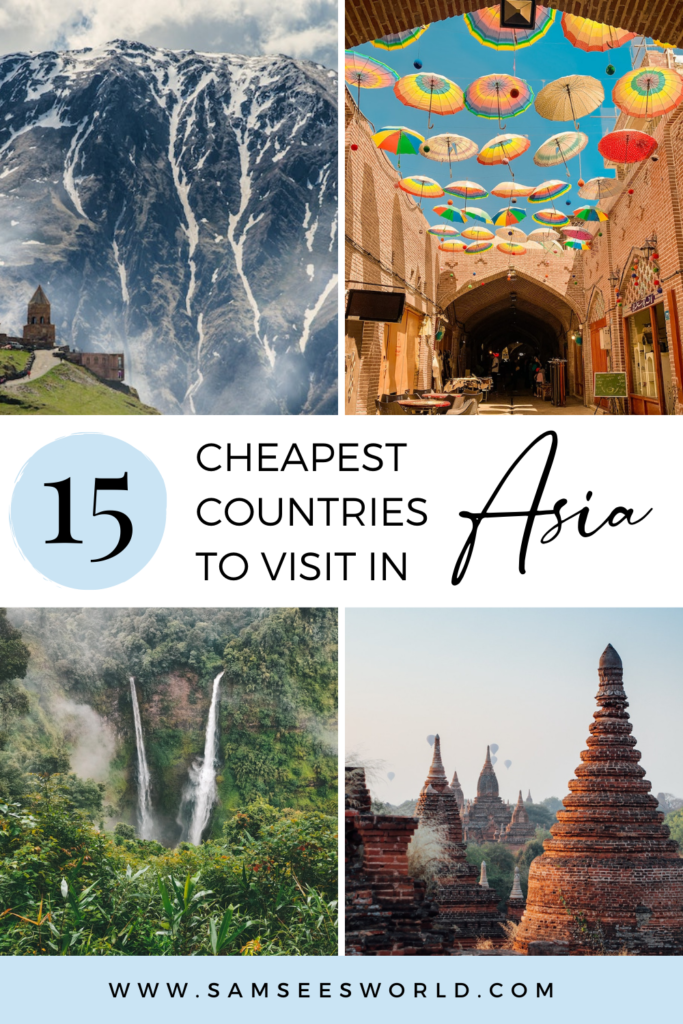 15 cheapest countries to visit in Asia pin