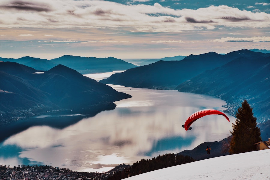 Paraglider over the lake