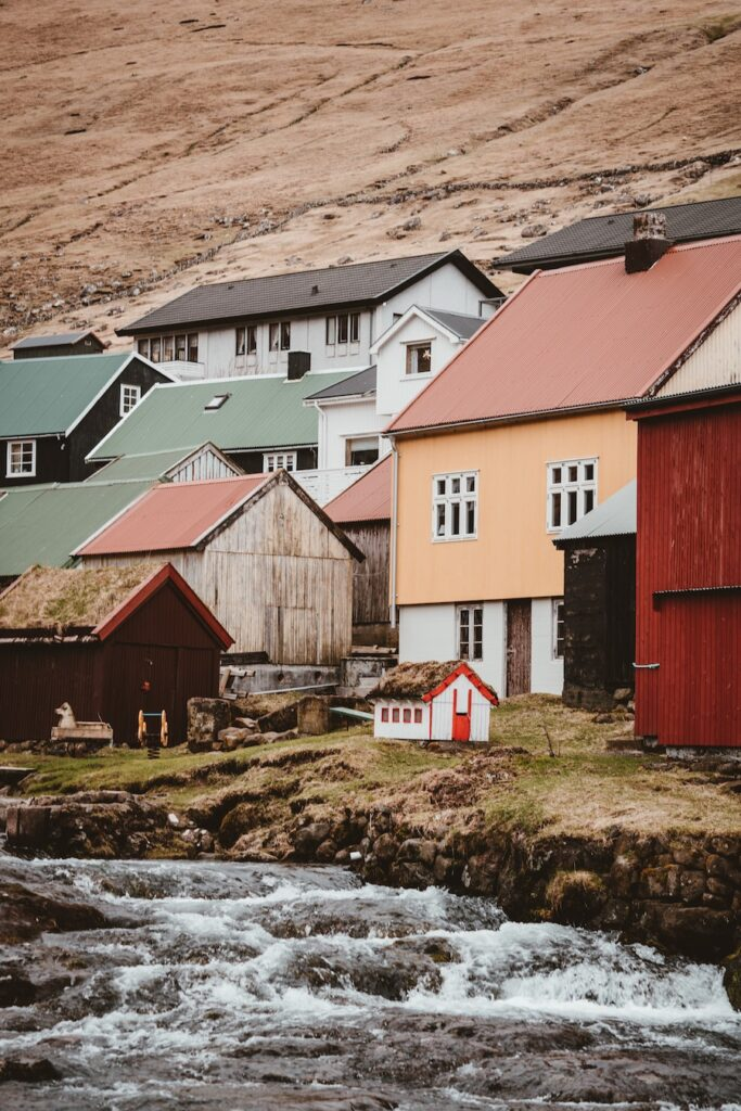 Light coloured houses in Faroe Islands