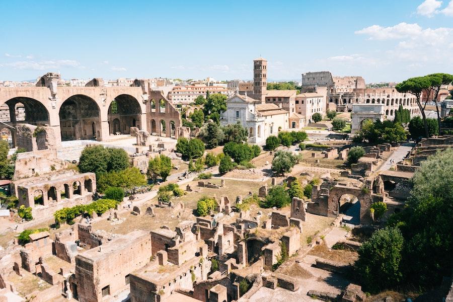 The Roman Forum full of ancient Roman ruins