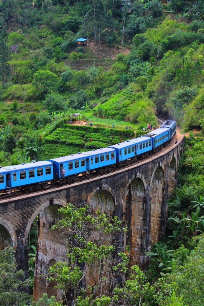 Train on a stone bridge