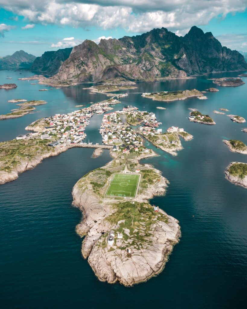 Islands with buildings