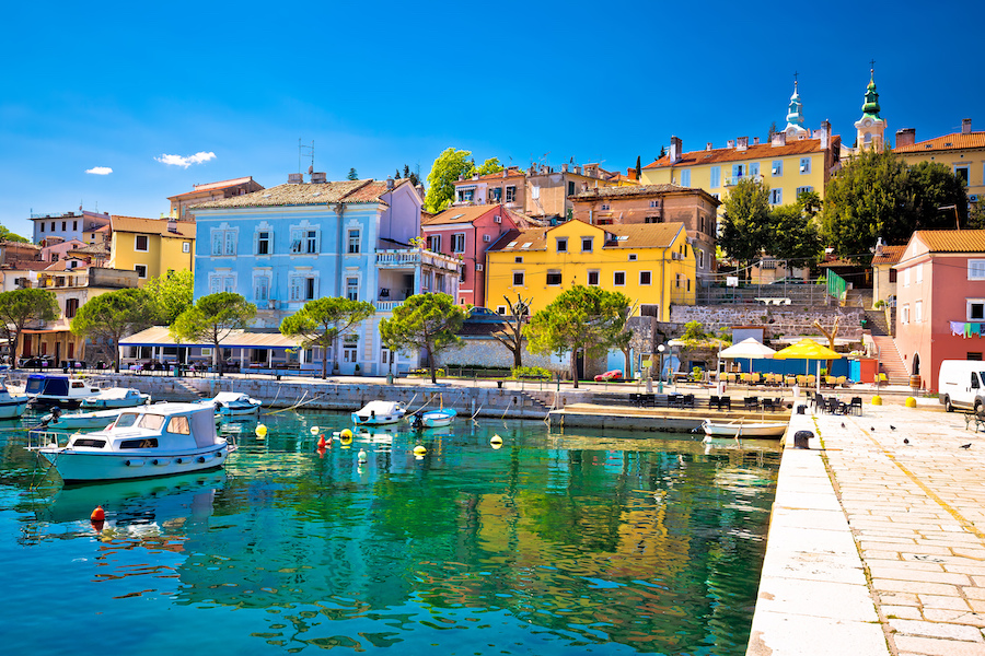 Idyllic mediterranean waterfront in Volosko village, Opatija riviera, Kvarner, Croatia