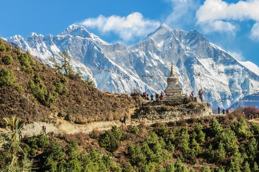 Snowcapped mountain and temple