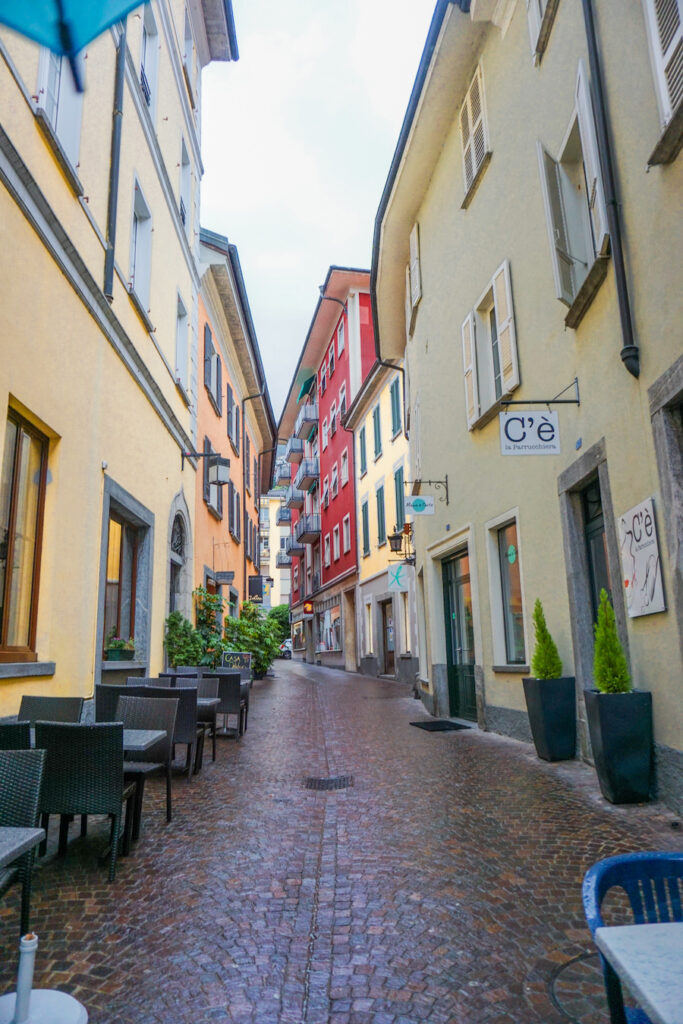 Pastel coloured buildings in Locarno old town