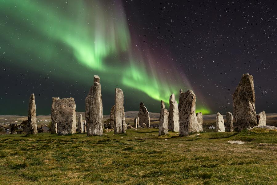 Northern lights over Callanish stones