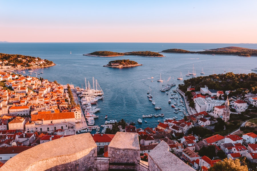 Aerial view of Hvar from the top of the fortress