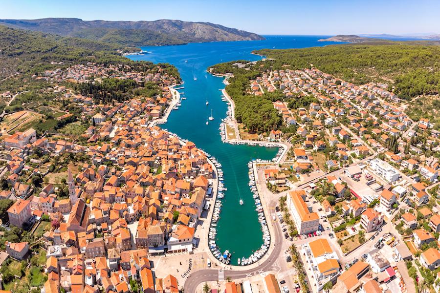 Aerial view of Stari Grad on Croatia